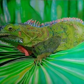 Leguan auf Palmenblatt, Acryl auf Leinwand, 2015,120 cm x 80 cm, verkauft