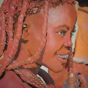 lächelndes Himba Mädchen, 2017, Acryl auf Leinwand, 120 cm x 80 cm