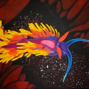 Fadenschnecke bunt, Acryl auf Leinwand, 2012, 70 cm x 50 cm, verkauft