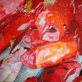 Frisch gefangene Red Snapper am Markt von Mauritius, 2013, Acryl auf Leinwand, 100 cm x 80 cm, verkauft