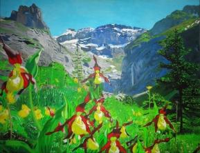 Frauenschuhe mit Alpenlandschaft, Acryl auf Leinwand, 2012, 90 cm x 70 cm, verkauft