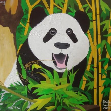Fu Long, der erste geborene Pandabär im Tiergarten Schönbrunn, wurde diesem weltweit ältesten Zoo als Bild geschenkt. Acryl auf Leinwand, 2008, gestiftet