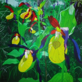 Frauenschuh in Waldlandschaft, Acryl auf Leinwand, 2011, 50 cm x 50 cm, verkauft