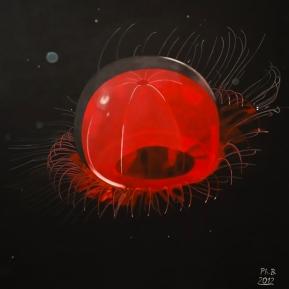 Rote Qualle, Acryl auf Leinwand, 2012, 80 cm x 80 cm