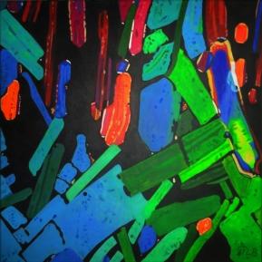 Mikroskopische Ansicht von Tequila, Acryl auf Leinwand, 2013, 58 cm x 58 cm,